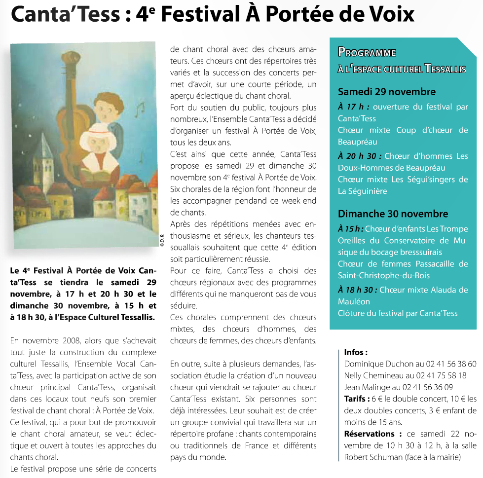 Article Canta'Tess : 4e festival À portée de voix dans Synergences hebdo n°353 - novembre